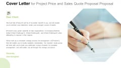 Cover Letter For Project Price And Sales Quote Proposal Brochure PDF