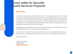 Cover Letter For Security Guard Services Proposal Ppt Pictures Templates PDF