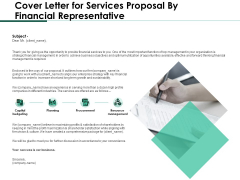 Cover Letter For Services Proposal By Financial Representative Designs PDF