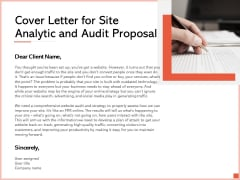 Cover Letter For Site Analytic And Audit Proposal Ppt Slides Visual Aids PDF