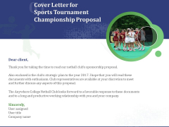 Cover Letter For Sports Tournament Championship Proposal Ppt Styles Good PDF