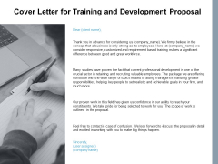 Cover Letter For Training And Development Proposal Ppt PowerPoint Presentation Show Graphics