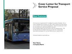 Cover Letter For Transport Service Proposal Ppt Powerpoint Presentation Icon Example