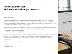 Cover Letter For Web Maintenance And Support Proposal Ppt PowerPoint Presentation Model Template