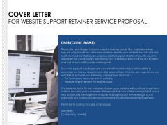 Cover Letter For Website Support Retainer Service Proposal Ppt PowerPoint Presentation Professional Maker