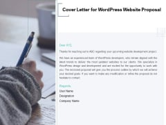 Cover Letter For Wordpress Website Proposal Ppt PowerPoint Presentation Gallery Diagrams