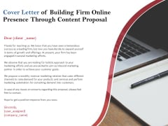 Cover Letter Of Building Firm Online Presence Through Content Proposal Ppt PowerPoint Presentation Icon Graphics Download
