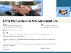 Cover Page Sample For New Agreement Deal Ppt PowerPoint Presentation File Template PDF