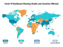 Covid 19 Dashboard Showing Deaths And Countries Affected Ppt PowerPoint Presentation Summary Slides PDF