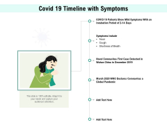 Covid 19 Timeline With Symptoms Ppt PowerPoint Presentation Infographics Examples PDF