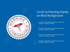 Covid 19 Warning Stamp On Blue Background Ppt PowerPoint Presentation Icon Rules PDF