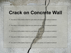 Crack On Concrete Wall Ppt PowerPoint Presentation Outline Clipart Images