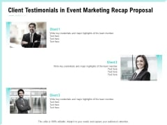 Craft The Perfect Event Proposal Client Testimonials In Event Marketing Recap Proposal Elements PDF