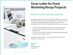 Craft The Perfect Event Proposal Cover Letter For Event Marketing Recap Proposal Topics PDF