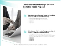 Craft The Perfect Event Proposal Details Of Premium Package For Event Marketing Recap Proposal Guidelines PDF