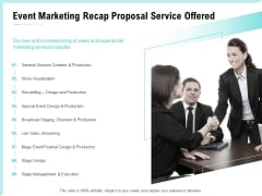 Craft The Perfect Event Proposal Event Marketing Recap Proposal Service Offered Diagrams PDF