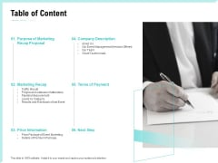 Craft The Perfect Event Proposal Table Of Content Demonstration PDF