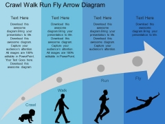 Crawl Walk Run Fly Arrow Diagram Powerpoint Templates