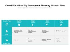 Crawl Walk Run Fly Framework Showing Growth Plan Ppt PowerPoint Presentation Gallery Smartart PDF