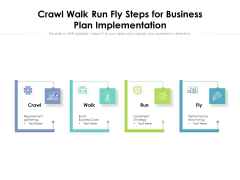 Crawl Walk Run Fly Steps For Business Plan Implementation Ppt PowerPoint Presentation Gallery Structure PDF