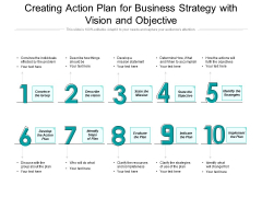 Creating Action Plan For Business Strategy With Vision And Objective Ppt PowerPoint Presentation Gallery Mockup PDF
