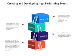 Creating And Developing High Performing Teams Ppt PowerPoint Presentation Styles Design Templates PDF