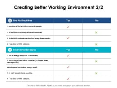 Creating Better Working Environment Compare Ppt PowerPoint Presentation Summary Samples