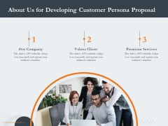 Creating Buyer Persona About Us For Developing Customer Persona Proposal Background PDF