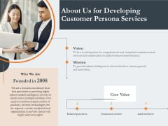 Creating Buyer Persona About Us For Developing Customer Persona Services Background PDF
