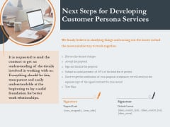 Creating Buyer Persona Next Steps For Developing Customer Persona Services Professional PDF