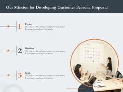 Creating Buyer Persona Our Mission For Developing Customer Persona Proposal Clipart PDF