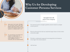 Creating Buyer Persona Why Us For Developing Customer Persona Services Brochure PDF