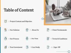 Creating Innovation Commodity Table Of Content Ppt Infographic Template Designs Download PDF