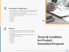 Creating Innovation Commodity Terms And Condition For Product Innovation Proposal Summary PDF