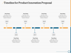 Creating Innovation Commodity Timeline For Product Innovation Proposal Ppt Outline Example Topics PDF