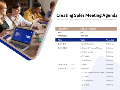 Creating Sales Meeting Agenda Ppt PowerPoint Presentation File Guide PDF