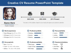 Creative CV Resume PowerPoint Template Ppt PowerPoint Presentation Infographics Master Slide PDF