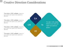 Creative Direction Considerations Ppt PowerPoint Presentation Background Image