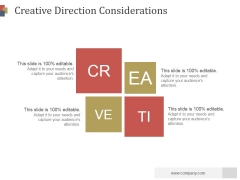 Creative Direction Considerations Ppt PowerPoint Presentation Graphics