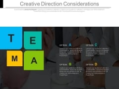 Creative Direction Considerations Ppt Slides