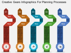 Creative Gears Infographics For Planning Processes Powerpoint Template
