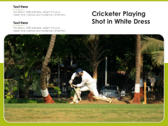Cricketer Playing Shot In White Dress Ppt PowerPoint Presentation File Portfolio PDF