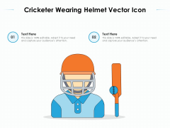 Cricketer Wearing Helmet Vector Icon Ppt PowerPoint Presentation File Background Image PDF
