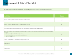 Crisis Management Environmental Crisis Checklist Ppt Model Clipart Images PDF