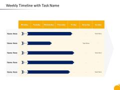 Crisis Management Program Presentation Weekly Timeline With Task Name Brochure PDF