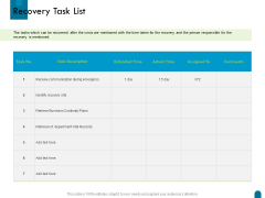 Crisis Management Recovery Task List Ppt Show Designs Download PDF