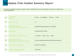 Crisis Management Workplace Crisis Incident Summary Report Ppt Summary Design Inspiration PDF