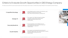 Criteria To Evaluate Growth Opportunities In GEO Energy Company Portrait PDF