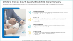 Criteria To Evaluate Growth Opportunities In GEO Energy Company Ppt PowerPoint Presentation Model Layouts PDF