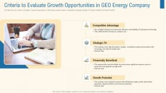 Criteria To Evaluate Growth Opportunities In Geo Energy Company Clipart PDF